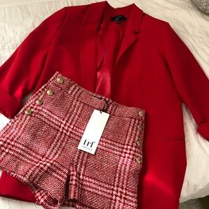 Red longline blazer